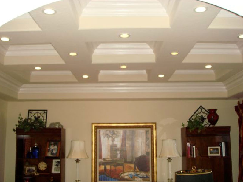 Coffered Ceiling with Crown Molding