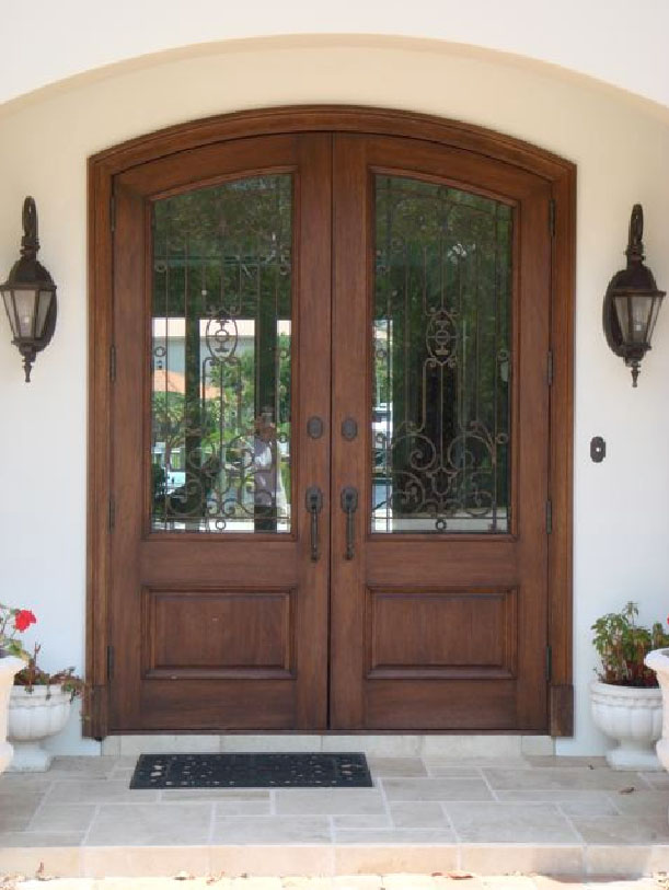 Mahogany Doors with Leaded Glass